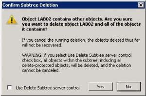 Confirm Subtree Deletion